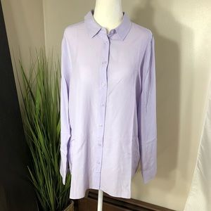 Uniqlo rayon blend button down blouse